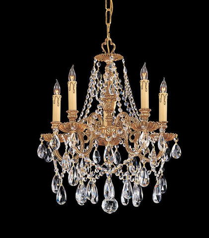 Crystorama Ornate Cast Brass Chandelier Accented with Swarovski Spectra Crystal 5 Lights - Olde Brass - 2705-OB-CL-SAQ - PeazzLighting
