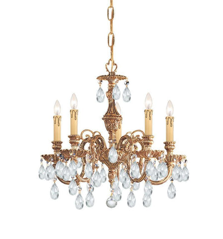 Crystorama Ornate Cast Brass Chandelier Accented with Swarovski Spectra Crystal 5 Lights - Olde Brass - 2905-OB-CL-SAQ - PeazzLighting