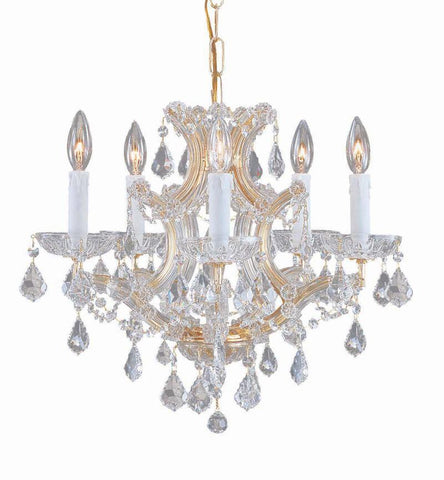 Crystorama Maria Theresa Chandelier Draped in Swarovski Elements Crystal 5 Lights - Gold - 4405-GD-CL-S - PeazzLighting