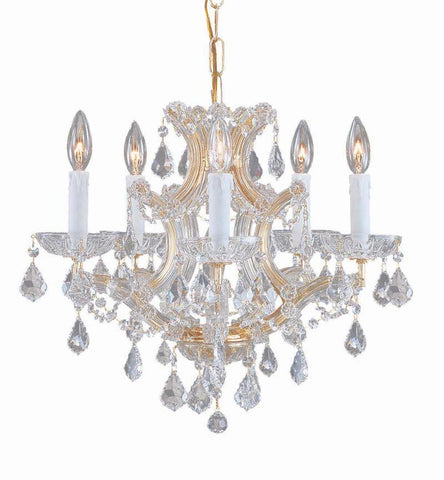 Crystorama Maria Theresa Chandelier Draped in Swarovski Spectra Crystal 5 Lights - Gold - 4405-GD-CL-SAQ - PeazzLighting