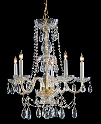 Crystorama Hand Cut Crystal Chandelier 5 Lights - Polished Brass - 1125-PB-CL-MWP - PeazzLighting