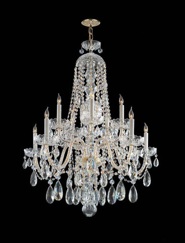 Crystorama Hand Cut Crystal Chandelier 5 Lights - Polished Brass - 1110-PB-CL-MWP - PeazzLighting