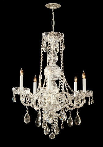 Crystorama Swarovski Elements Crystal Chandelier 5 Lights - Polished Brass - 1115-PB-CL-S - PeazzLighting