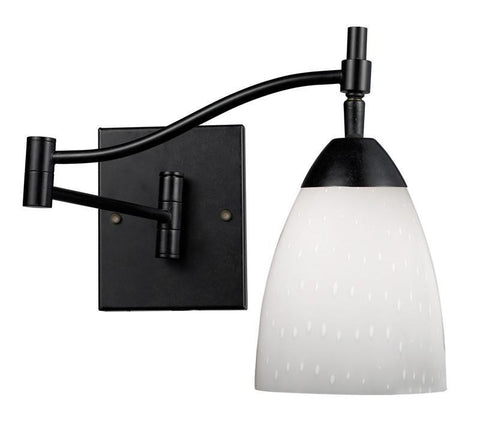 ELK Lighting Celina Celina 1-Light Swingarm Sconce In Dark Rust And Simple White Glass - 10151/1DR-WH - PeazzLighting