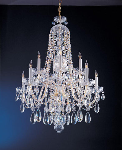 Crystorama Swarovski Elements Crystal Chandelier 5 Lights - Polished Brass - 1110-PB-CL-S - PeazzLighting