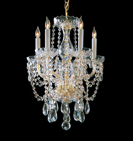 Crystorama Swarovski Spectra Crystal Chandelier 5 Lights - Polished Brass - 1129-PB-CL-SAQ - PeazzLighting