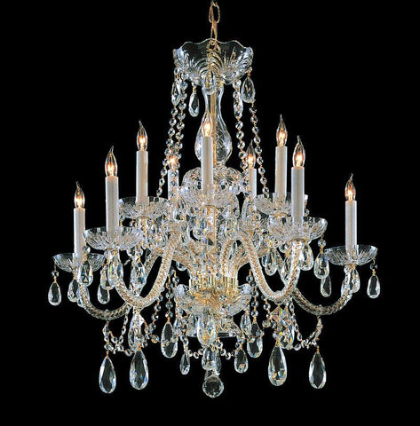 Crystorama Swarovski Spectra Crystal Chandelier 5 Lights - Polished Brass - 1130-PB-CL-SAQ - PeazzLighting