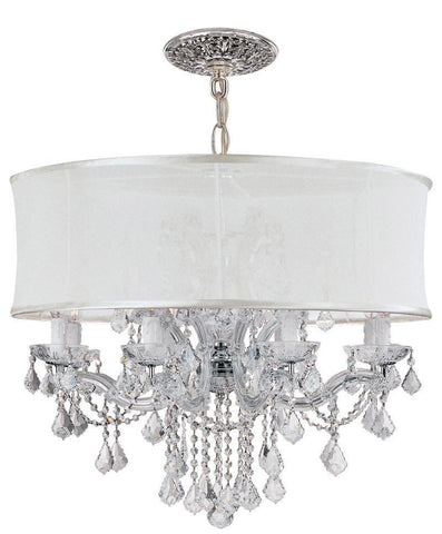 Crystorama Brentwood Chandelier Draped in Clear Swarovski Spectra Crystal & Accented with a Smooth White Silk Shade 8 Lights - Polished Chrome - 4489-CH-SMW-CLQ - PeazzLighting