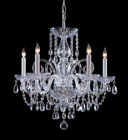 Crystorama Swarovski Elements Crystal Chandelier 5 Lights - Polished Chrome - 1005-CH-CL-S - PeazzLighting