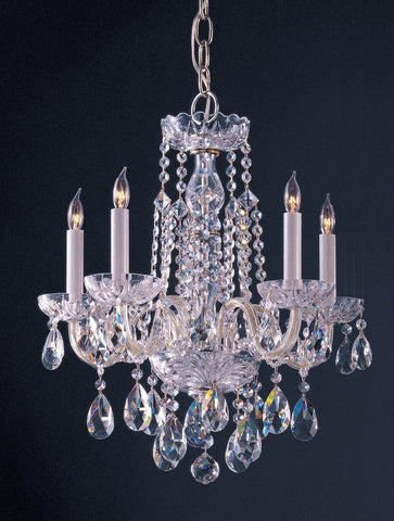 Crystorama Swarovski Spectra Crystal Chandelier 5 Lights - Polished Chrome - 1061-CH-CL-SAQ - PeazzLighting