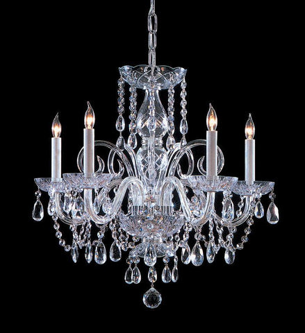 Crystorama Swarovski Spectra Crystal Chandelier 5 Lights - Polished Chrome - 1005-CH-CL-SAQ - PeazzLighting