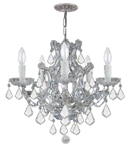 Crystorama Maria Theresa Chandelier Draped in Swarovski Spectra Crystal 5 Lights - Polished Chrome - 4405-CH-CL-SAQ - PeazzLighting