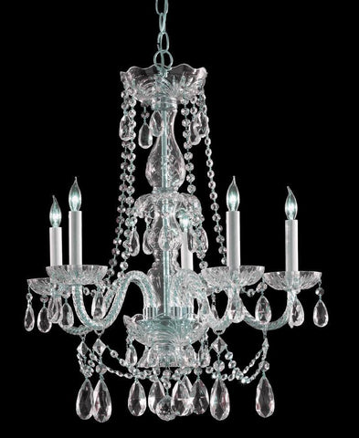 Crystorama Swarovski Spectra Crystal Chandelier 5 Lights - Polished Chrome - 1125-CH-CL-SAQ - PeazzLighting