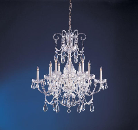 Crystorama Crystal chandelier with Clear Swarovski Spectra crystal 6 Lights - Polished Chrome - 1035-CH-CL-SAQ - PeazzLighting
