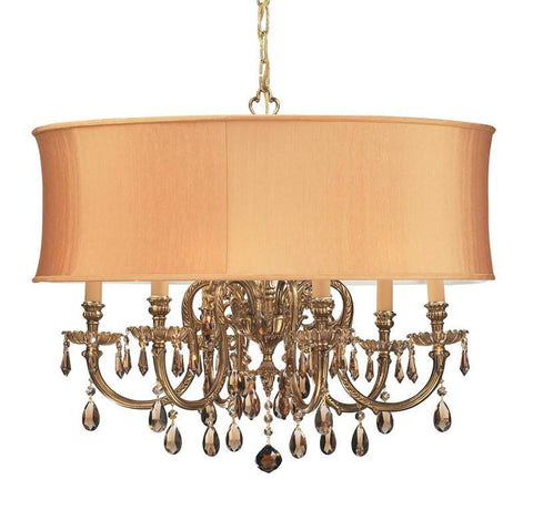 Crystorama Ornate Cast Brass Chandelier Accented with Golden Teak Swarovski Elements Crystal & Harvest Gold Shade 6 Lights - Olde Brass - 2916-OB-SHG-GTS - PeazzLighting