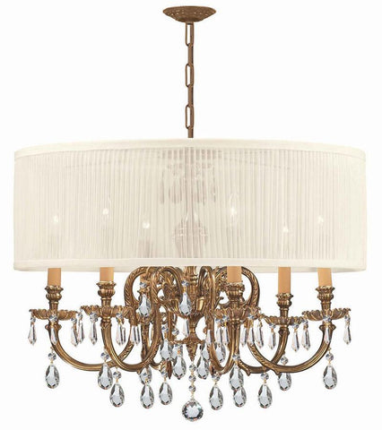 Crystorama Ornate Cast Brass Chandelier Accented with Hand Cut Crystal & Antique White Shade 6 Lights - Olde Brass - 2916-OB-SAW-CLM - PeazzLighting