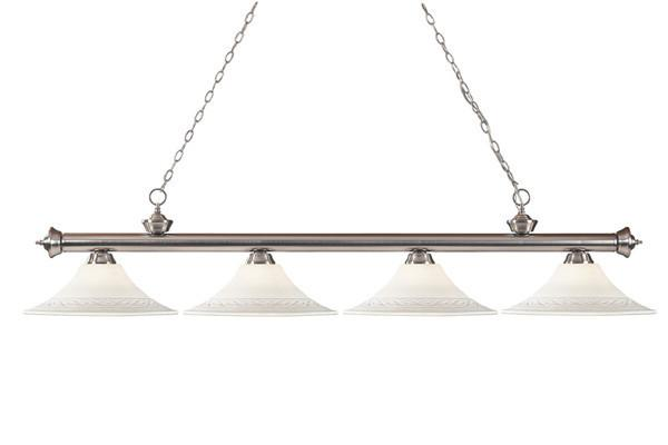 Z-Lite Riviera Brushed Pewter Collection Pewter Finish Four Lights Billiard
