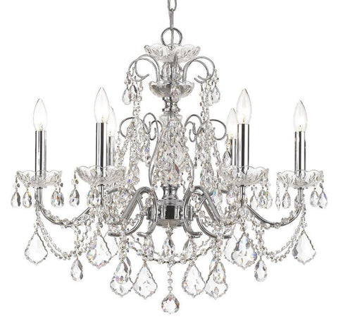 Crystorama Solid Brass Crystal Chandelier Accented with Swarovski Spectra Crystal 6 Lights - Polished Chrome - 3226-CH-CL-SAQ - PeazzLighting