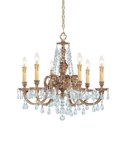 Crystorama Ornate Cast Brass Chandelier Accented with Clear Hand Cut Crystal 6 Lights - Olde Brass - 2806-OB-CL-MWP - PeazzLighting