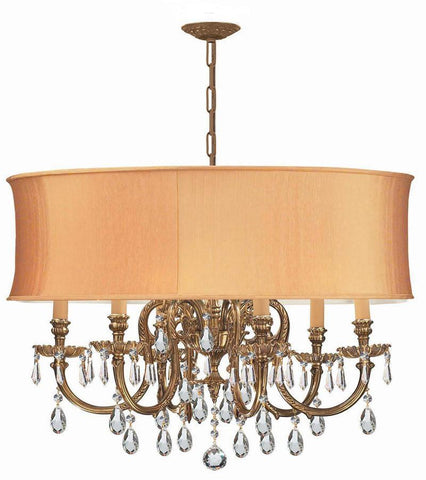 Crystorama Ornate Cast Brass Chandelier Accented with Hand Cut Crystal & Harvest Gold Shade 6 Lights - Olde Brass - 2916-OB-SHG-CLM - PeazzLighting