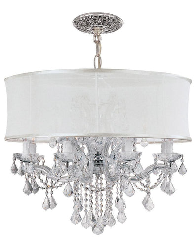 Crystorama Brentwood Chandelier Draped in Clear Swarovski Elements Crystal & Accented with a Smooth White Silk Shade 8 Lights - Polished Chrome - 4489-CH-SMW-CLS - PeazzLighting