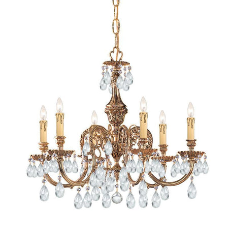 Crystorama Ornate Cast Brass Chandelier Accented with Hand Cut Crystal 6 Lights - Olde Brass - 2906-OB-CL-MWP - PeazzLighting
