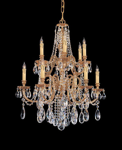Crystorama Ornate Cast Brass Chandelier Accented with Clear Hand Cut Crystal 6 Lights - Olde Brass - 2712-OB-CL-MWP - PeazzLighting