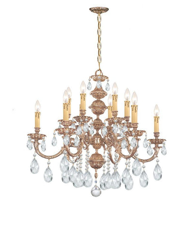 Crystorama Ornate Cast Brass Chandelier Accented with Swarovski Spectra Crystal 6 Lights - Olde Brass - 2512-OB-CL-SAQ - PeazzLighting