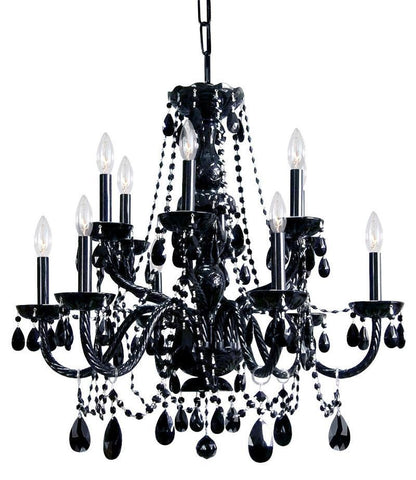Crystorama Black Hand Cut Crystal Chandelier 6 Lights - Black - 1135-BK-BK-MWP - PeazzLighting