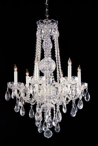 Crystorama Hand Cut Crystal Chandelier 6 Lights - Polished Chrome - 1105-CH-CL-MWP - PeazzLighting