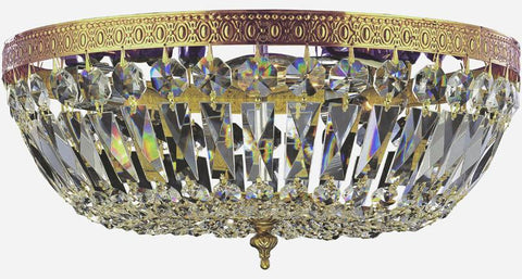 Crystorama 716-OB-CL-SAQ 3-Lights Swarovski Spectra Crystal Basket - Olde Brass - PeazzLighting