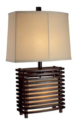 Dimond D1419 Burns Valley Table Lamp In Espresso Wood With Cream Linen Shade - PeazzLighting