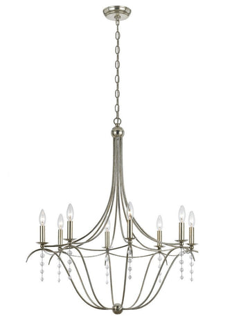 Crystorama Antique Silver Chandelier 8 Lights - Antique Silver - 438-SA - PeazzLighting