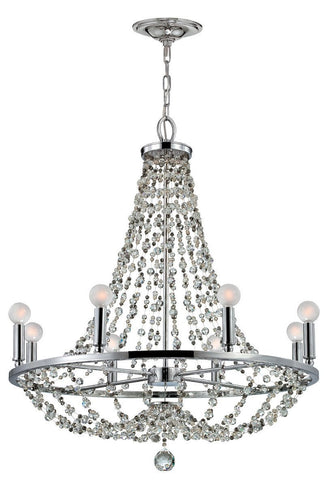 Crystorama Polished chrome chandelier dressed with decorative beading. 8 Lights - Polished Chrome - 1548-CH-MWP - PeazzLighting