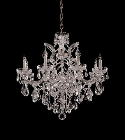 Crystorama Maria Theresa Chandelier Draped in Swarovski Spectra Crystal 8 Lights - Polished Chrome - 4409-CH-CL-SAQ - PeazzLighting