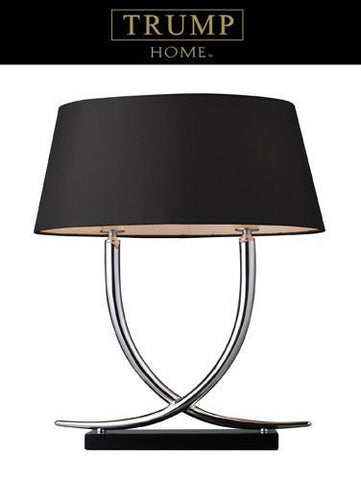 Dimond D1486 Park East 2 Light Table Lamp In Chrome And Black With Oval Black Shade - PeazzLighting