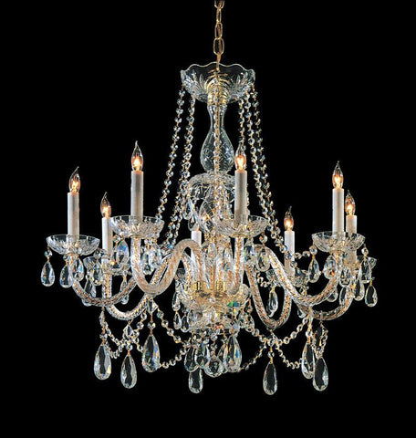 Crystorama Hand Cut Crystal Chandelier 8 Lights - Polished Brass - 1128-PB-CL-MWP - PeazzLighting