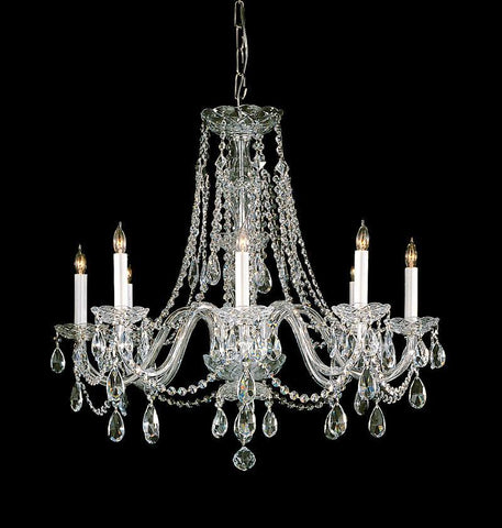 Crystorama Hand Polished Crystal Chandelier 8 Lights - Polished Brass - 1138-PB-CL-MWP - PeazzLighting