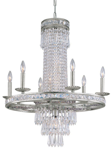 Crystorama Clear Hand Polished Crystal, Wrought Iron Chandelier, Olde Silver Finish 6 Lights - Olde Silver - 5266-OS-CL-MWP - PeazzLighting