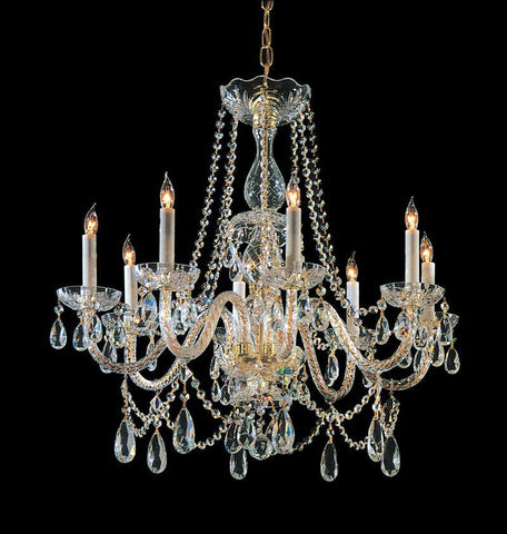 Crystorama Swarovski Elements Crystal Chandelier 8 Lights - Polished Brass - 1128-PB-CL-S - PeazzLighting