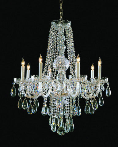 Crystorama Swarovski Elements Crystal Chandelier 8 Lights - Polished Brass - 1108-PB-CL-S - PeazzLighting