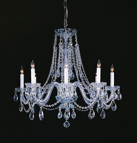 Crystorama Hand Cut Crystal Chandelier 8 Lights - Polished Chrome - 1138-CH-CL-MWP - PeazzLighting