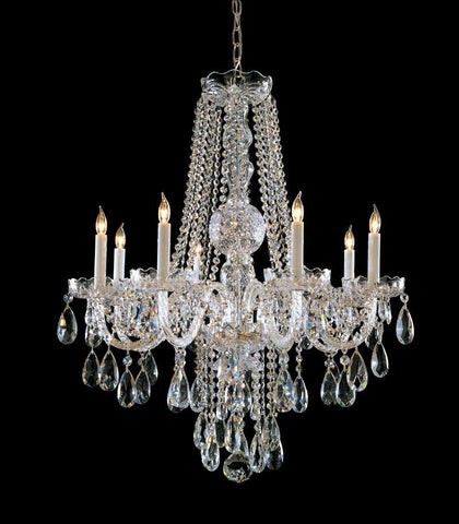 Crystorama Hand Cut Crystal Chandelier 8 Lights - Polished Chrome - 1108-CH-CL-MWP - PeazzLighting