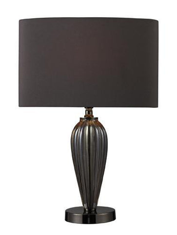 Dimond D1599 Carmichael Table Lamp In Steel Smoked Glass And Black Nickel With Oval Slate Grey Shade And Dark Grey Liner - PeazzLighting