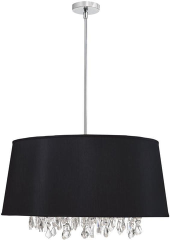Dainolite 8 Lite Crystal Pendant Baroness Black/Silver Shade 38 Strands Crystal BAR2511-694-PC - PeazzLighting