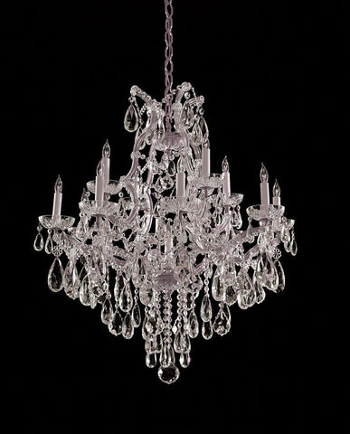Crystorama Maria Theresa Chandelier Draped in Hand Cut Crystal 12 Lights - Polished Chrome - 4413-CH-CL-MWP - PeazzLighting