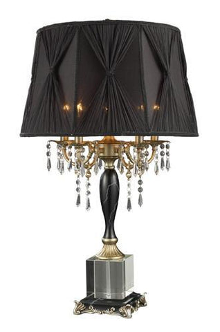 Dimond D1744 Mount Caufield 5 Light Table Lamp In Black Faux Marble And Egyptian Crystal With Black Organza Shade And Black Liner - PeazzLighting