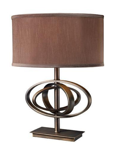 Dimond D1803 Jordan Table Lamp In Oil Rubbed Bronze With Oval Taupe Faux Silk Shade And Light Taupe Liner - PeazzLighting