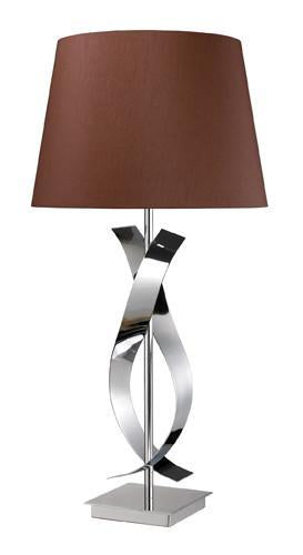 Chocolate | Monroe | Chrome | Silver | Liner | Shade | Table | Silk | Lamp | Faux