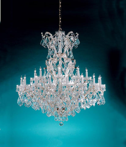 Crystorama Maria Theresa Chandelier Draped in Hand Cut Crystal 24 Lights - Polished Chrome - 4424-CH-CL-MWP - PeazzLighting